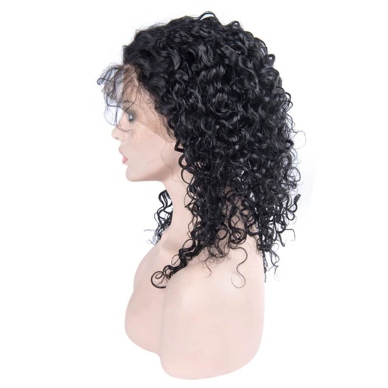Left of Jet Black Loose Curly Human Hair Lace Front Wig