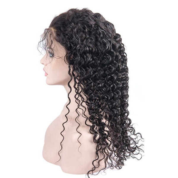 Kinky Curly Black Human Hair Lace Front Wig Side Part
