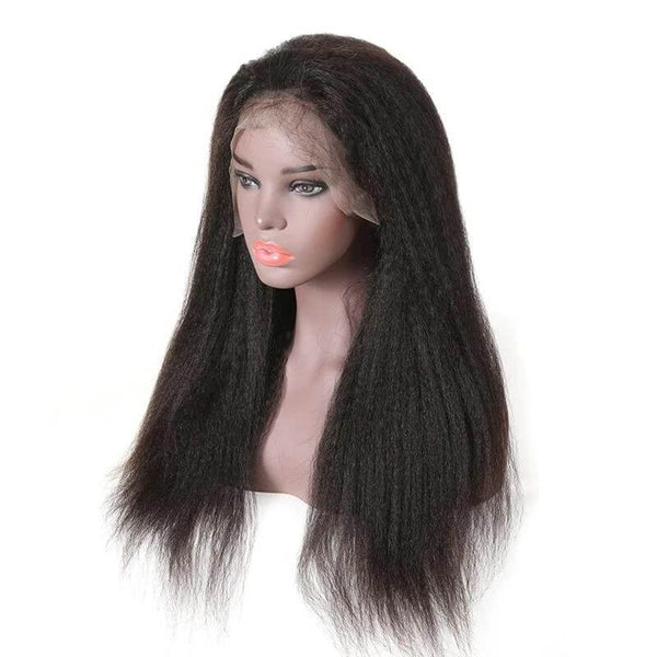 kinky straight hair full lace wigs illusion side