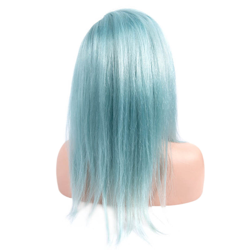 Back of Light Blue Medium Length Human Hair Lace Front Wigs
