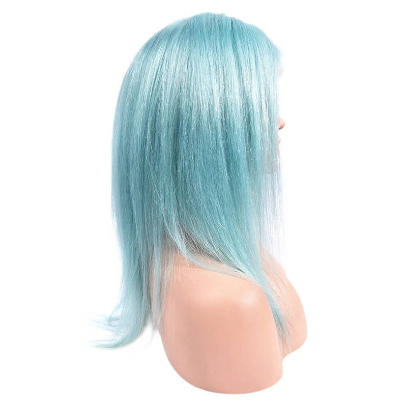 Right of Light Blue Medium Length Human Hair Lace Front Wigs