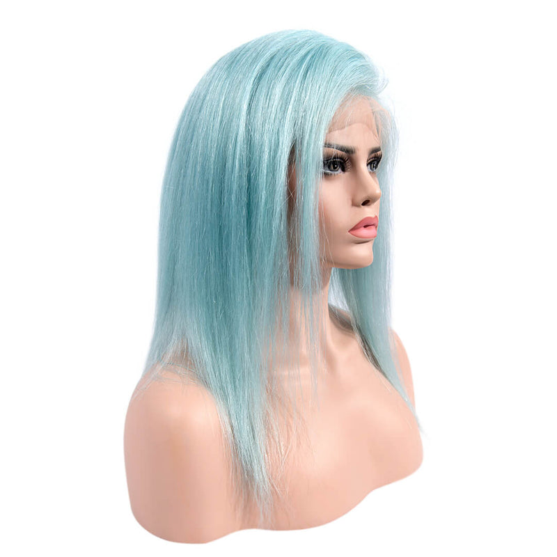 Light Blue Medium Length Human Hair Lace Front Wigs