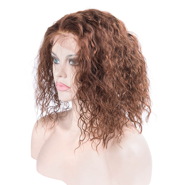 Left of light brown human hair lace front curly bob wig