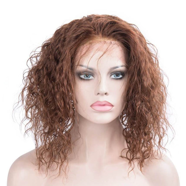 Light brown human hair lace front curly bob wig