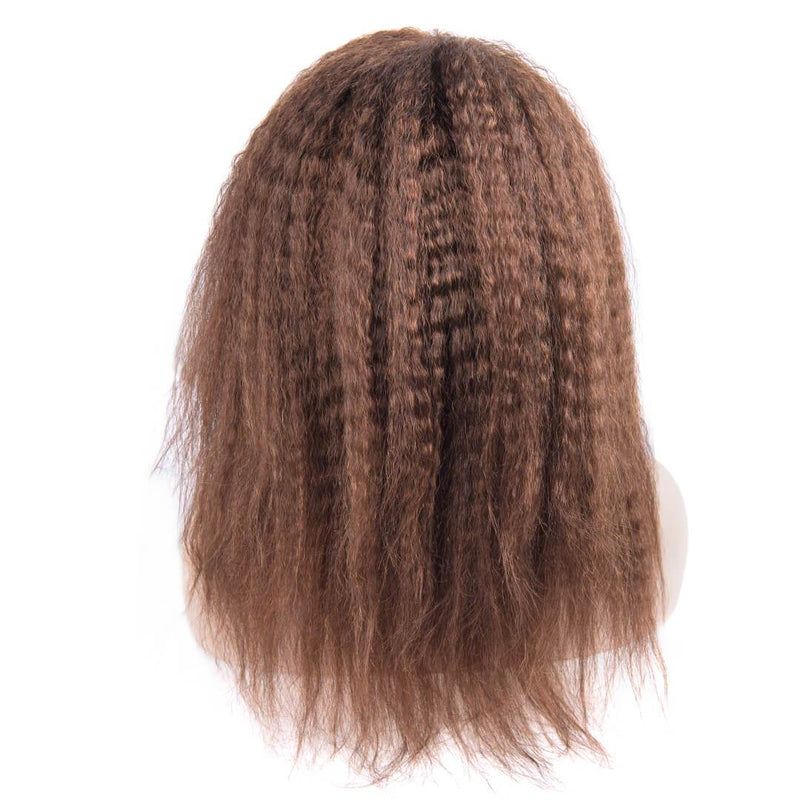 Light Brown Kinky Straight Human Hair Lace Front Wig Back