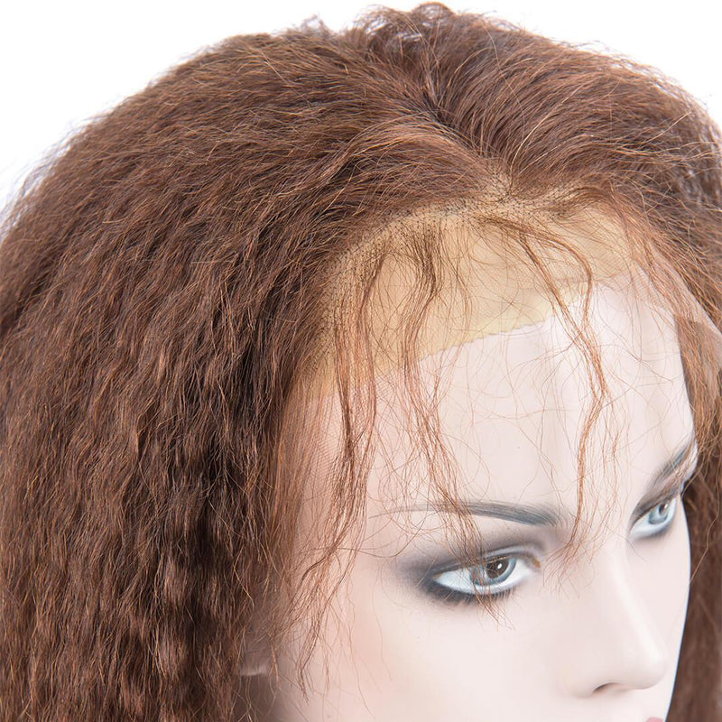 Light Brown Kinky Straight Human Hair Lace Front Wig Baby Hair