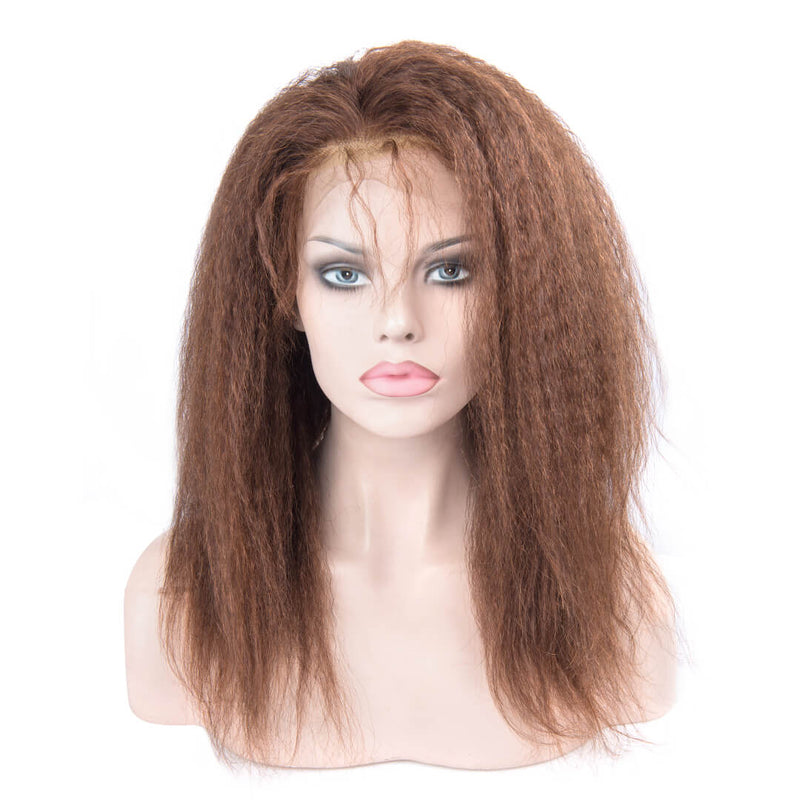 Light Brown Kinky Straight Human Hair Lace Front Wig
