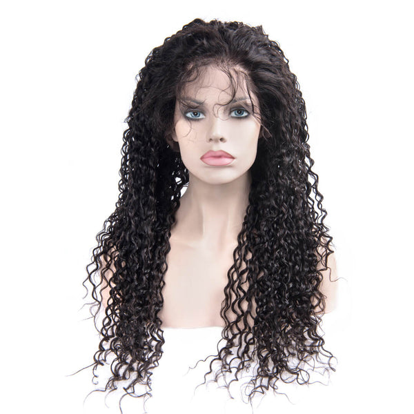 Long Black Water Wave Human Hair Lace Front Wig