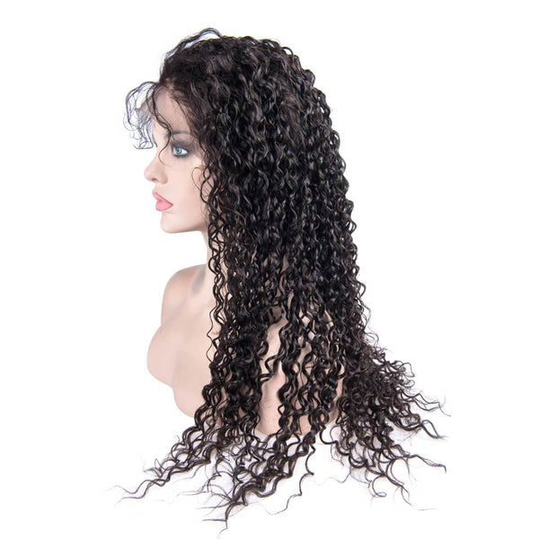 Long Black Water Wave Human Hair Lace Front Wig Side Part