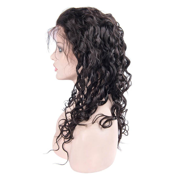 Left Side of Long Natural Wave Human Hair Lace Front Wig