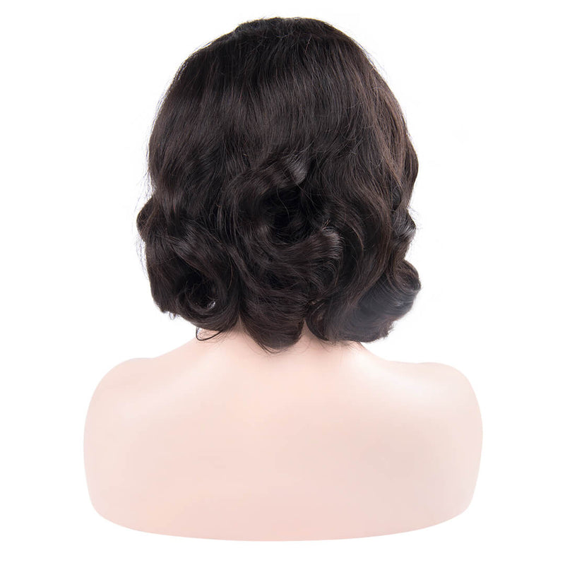 Back of natural black water wave human hair lace front bob wig-Black Queen
