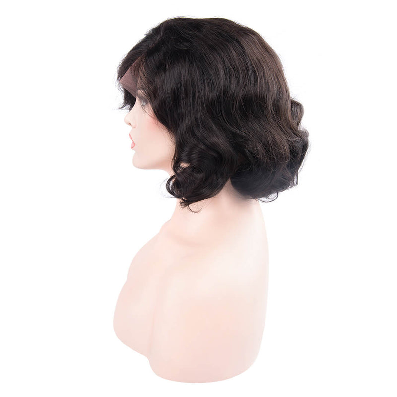Left of natural black water wave human hair lace front bob wig-Black Queen