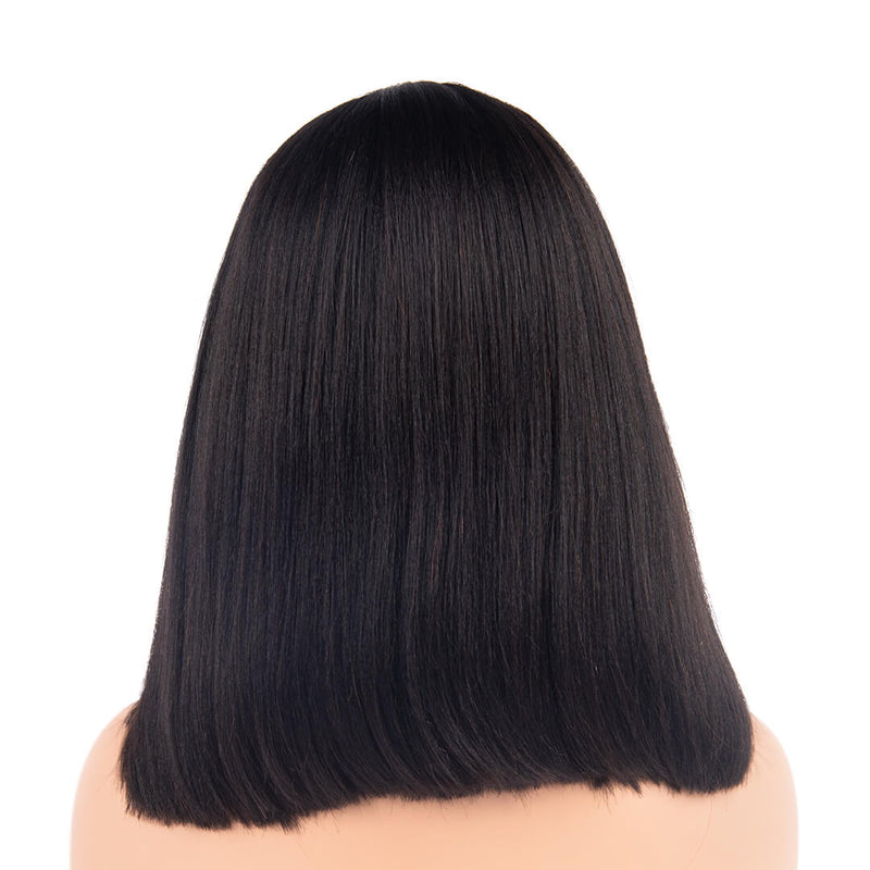 Back of Natural Black Human Hair Lace Front Yaki Bob Wig