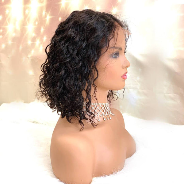 Right of natural black jerry curly human hair lace front bob wig-Naughty Girl