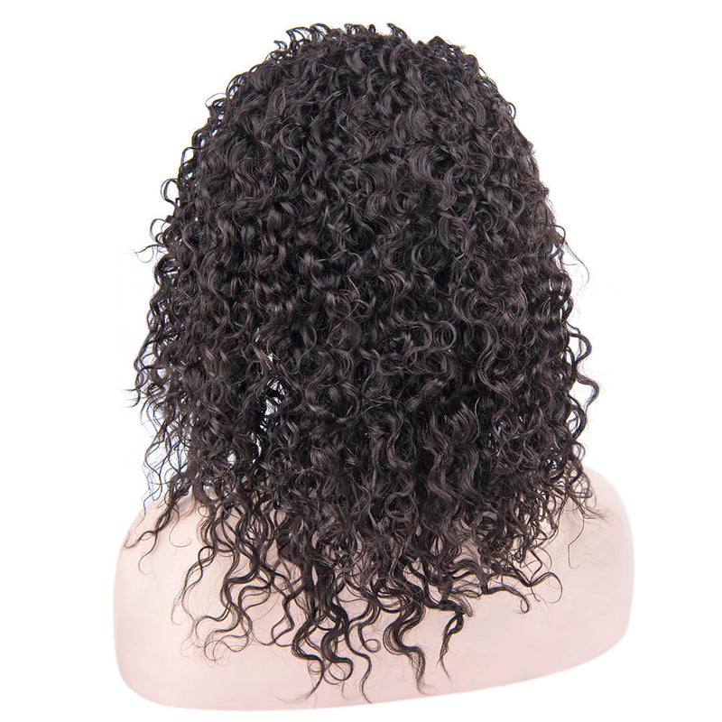Back of Natural Black Kinky Curly Human Hair Lace Front Wig