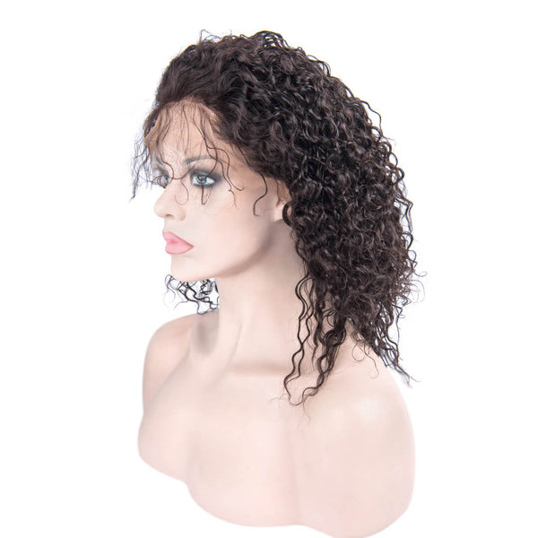 Left of Natural Black Kinky Curly Human Hair Lace Front Wig