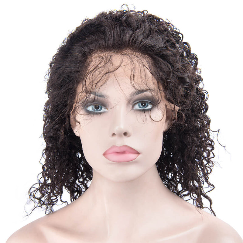 Natural Black Kinky Curly Human Hair Lace Front Wig