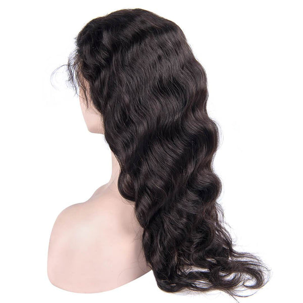 Natural Black Long Body Wave Human Hair Lace Front Wig side part