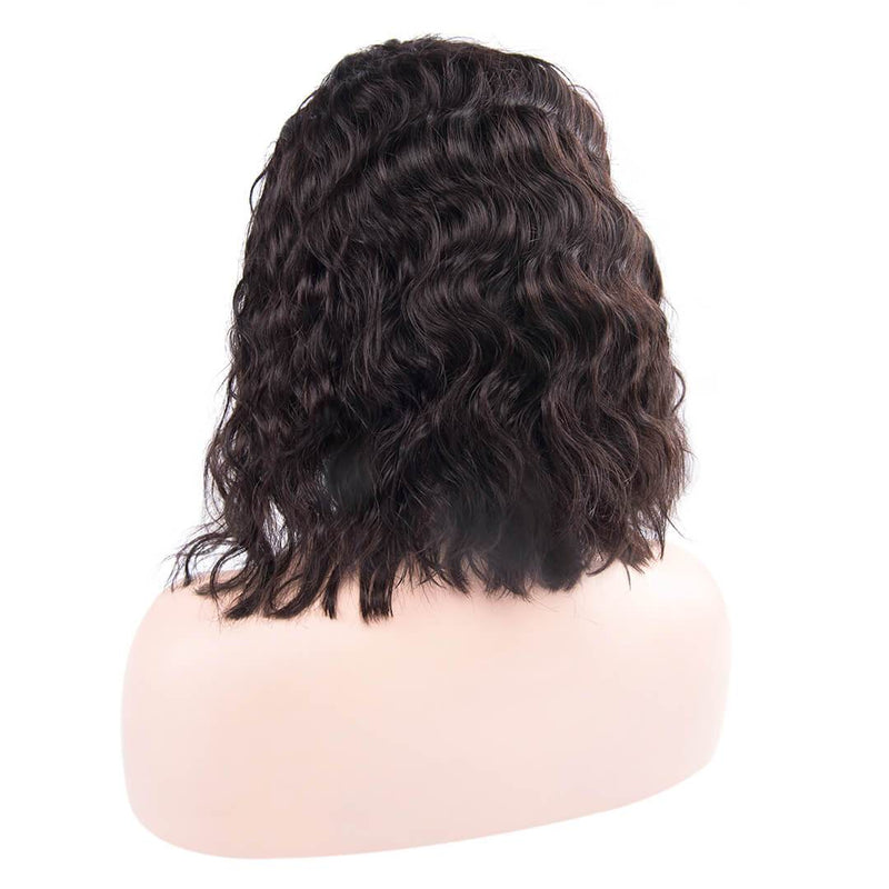 Back of Natural Black Loose Wave Human Hair Lace Front Bob Wigs