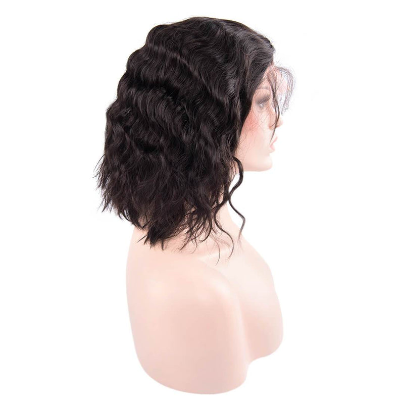 Right of Natural Black Loose Wave Human Hair Lace Front Bob Wigs