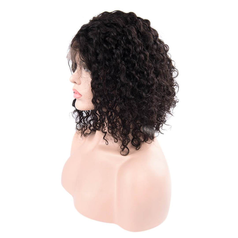 Left of natural black water wave human hair lace front bob wig-Magic Vine