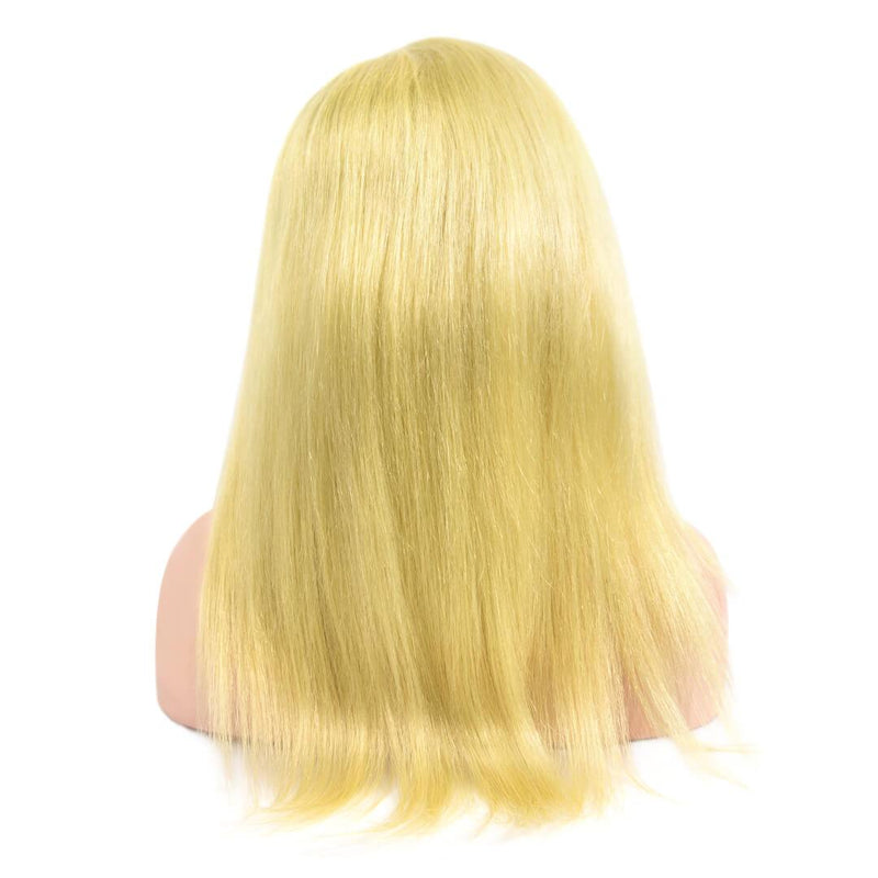 Natural Straight Blonde Human Hair Lace Front Wig Back