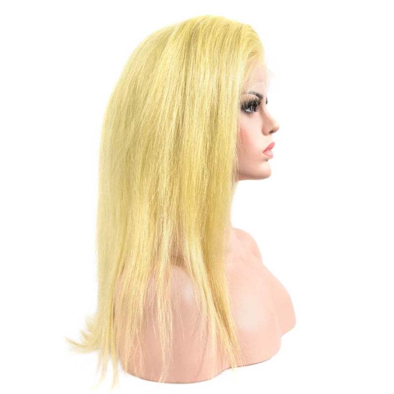 Natural Straight Blonde Human Hair Lace Front Wig Side Part