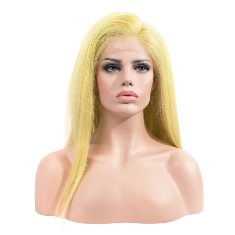 Natural Straight Blonde Human Hair Lace Front Wig