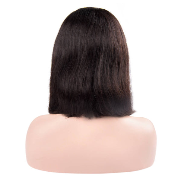 Back of natural straight human hair lace front bob wig-Silk Waterfall
