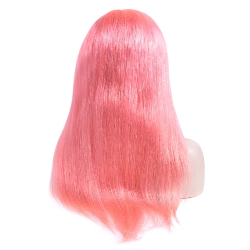 Natural Straight Pink Human Hair Lace Front Wig Back