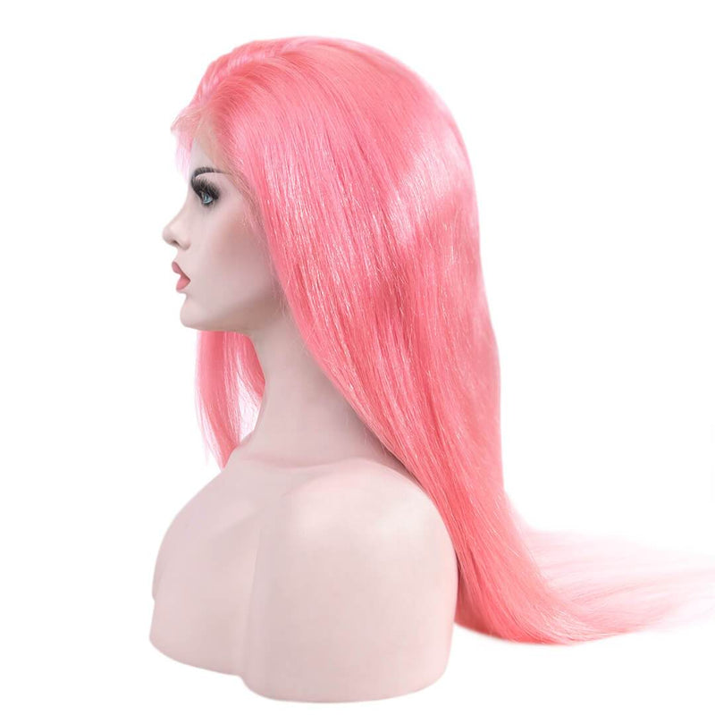 Natural Straight Pink Human Hair Lace Front Wig Left Part