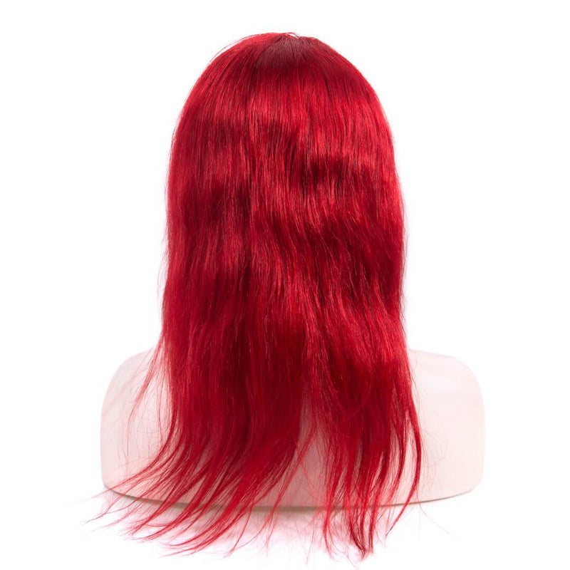 Natural Straight Red Long Human Hair Lace Front Wig Back