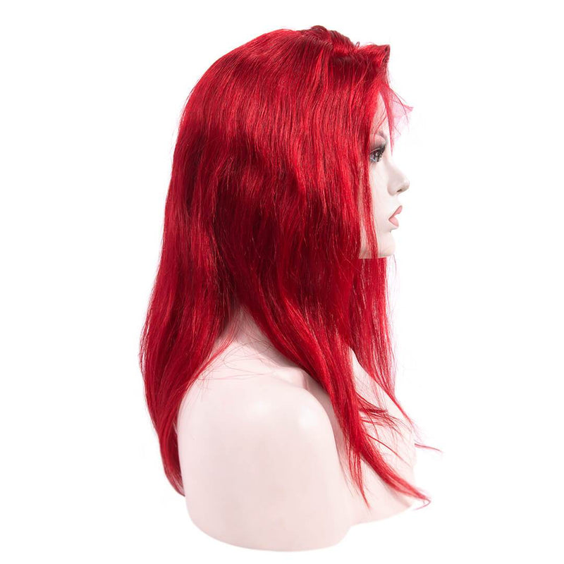 Natural Straight Red Long Human Hair Lace Front Wig Right Part