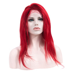 Natural Straight Red Long Human Hair Lace Front Wig