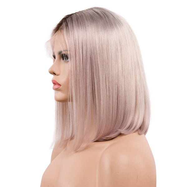 ombre grey natural straight human hair lace front bob wig -Fancy Grey  right side
