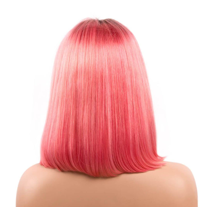 Back of ombre orange natural straight human hair lace front bob wig-Cherry Blossom