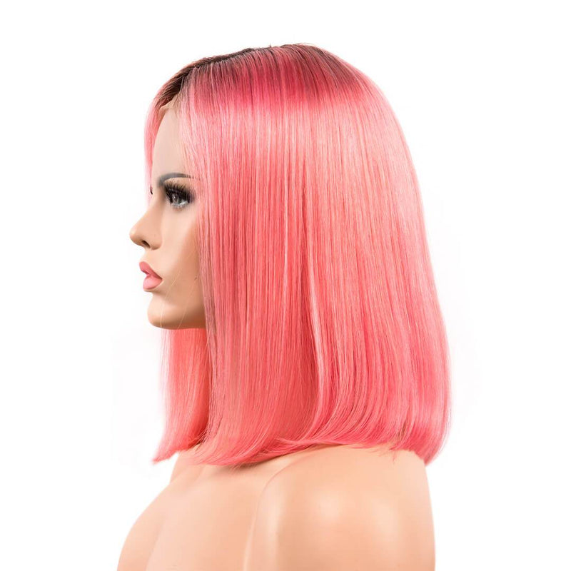 Left of Ombre orange natural straight human hair lace front bob wig-Cherry Blossom