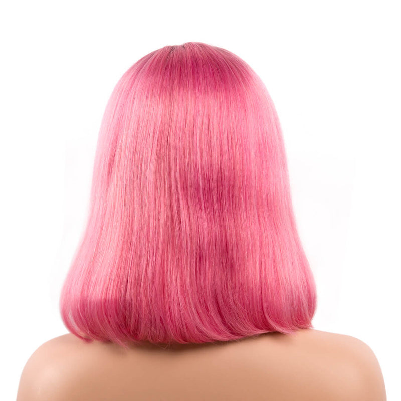 Back of ombre pink natural straight human hair lace front bob wig-Raspberry