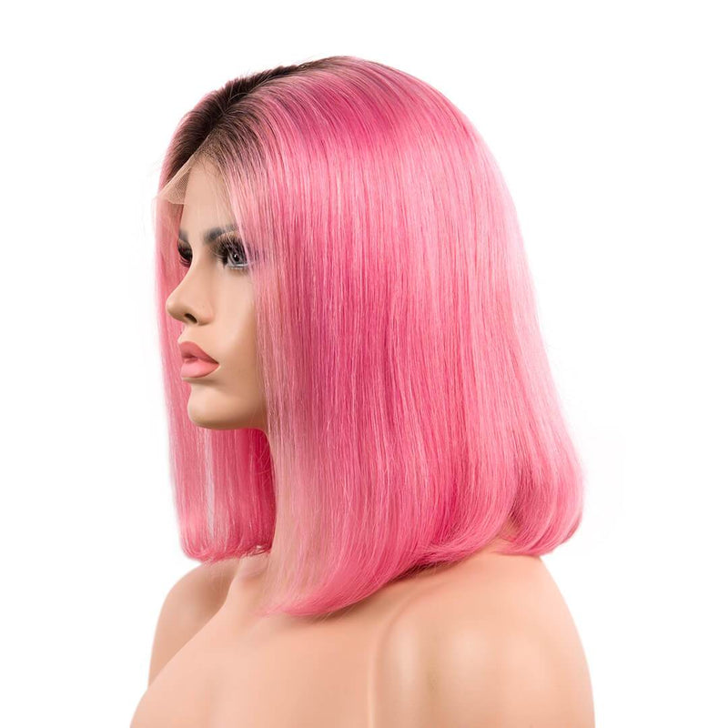 Left of ombre pink natural straight human hair lace front bob wig-Raspberry