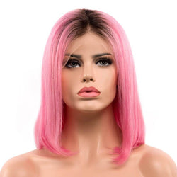 Ombre pink natural straight human hair lace front bob wig-Raspberry