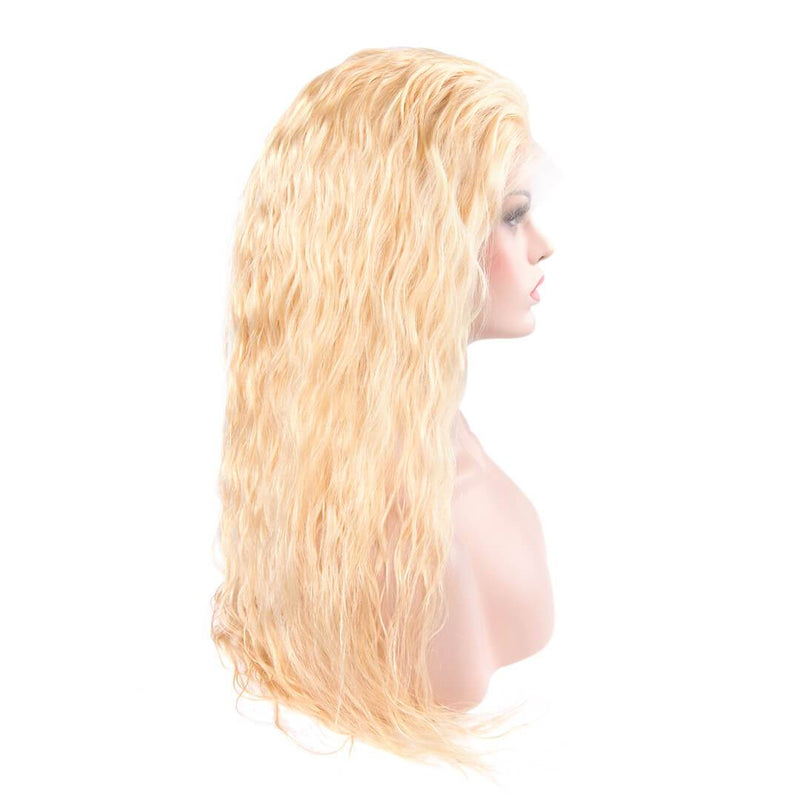 Right Side of Platinum Blonde Loose Wave Human Hair Lace Front Wig-Luscious Wave