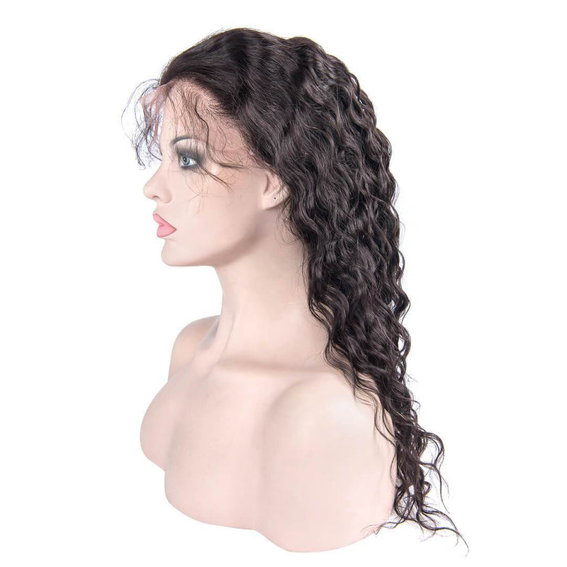 Pre Plucked Natural Wave Human Hair Lace Front Wig left side