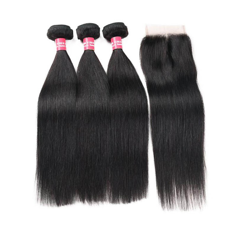 3 Human Hair Bundles with 4x4 Lace Frontal