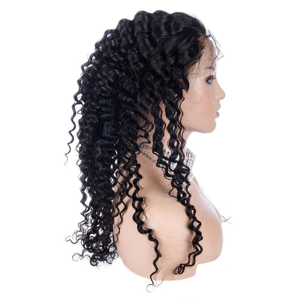 Water Wave Full Lace Wig Human Hair Left Side| MAGNETIC BLACK