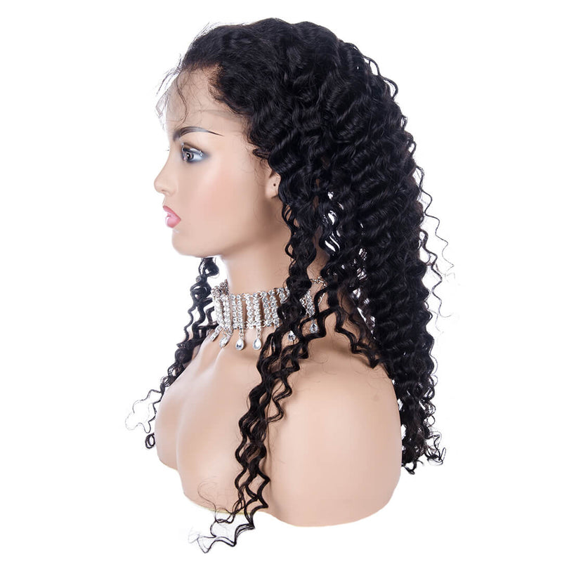 Water Wave Full Lace Wig Human Hair Right Side| MAGNETIC BLACK
