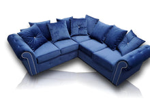 Load image into Gallery viewer, Ashwin Plush Royal Blue Corner Sofa