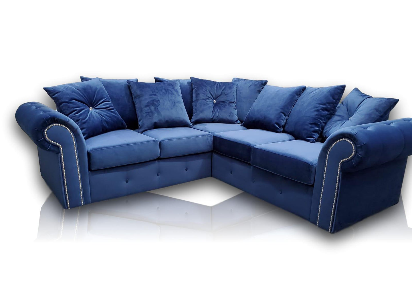 Ashwin Plush Royal Blue Corner Sofa