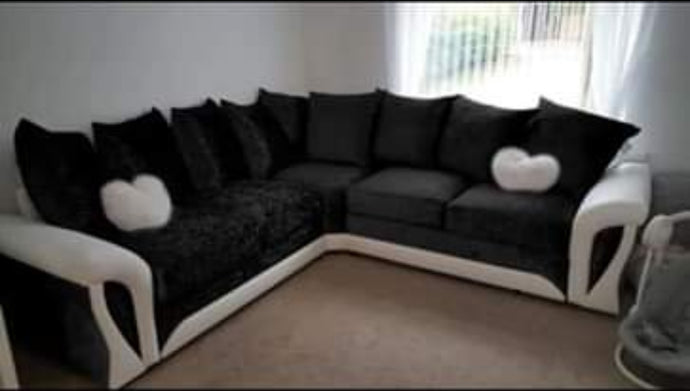 Shannon Leather White and Crush Velvet Sofa