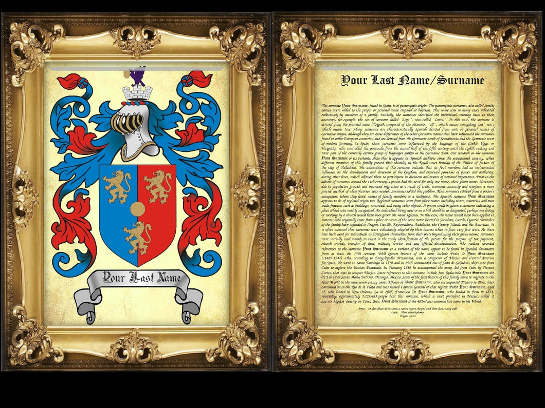 Executive Family Name History and full color Coat of Arms (2 pages) size 17