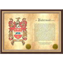 "Load image into Gallery viewer, Executive Family Name History and full color Coat of Arms (2 pages) size 17"" X 11"" (cm 43x28)"